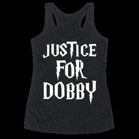 Justice For Dobby Parody White Print Racerback Tank Top