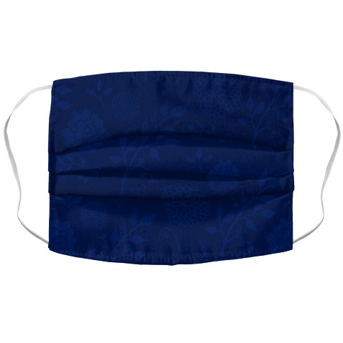 Navy Subtle Floral Pattern Accordion Face Mask
