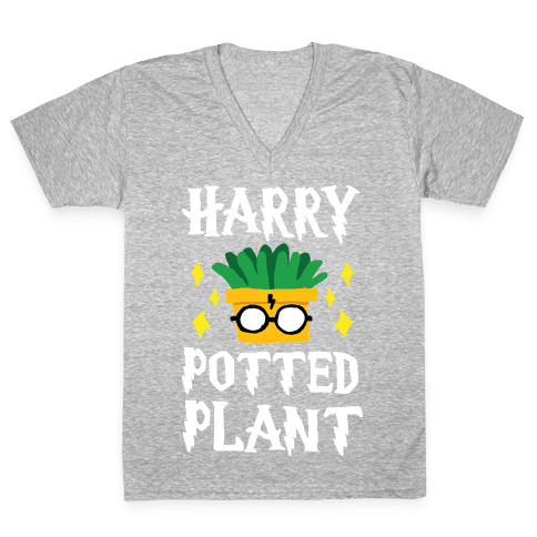 Harry Potted Plant V-Neck Tee Shirt