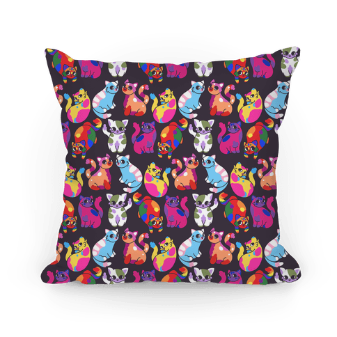 Cartoon Pride Cats Pattern Pillow