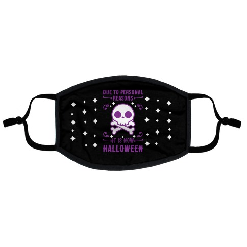 Due To Personal Reasons It Is Now Halloween Skull (Purple) Flat Face Mask