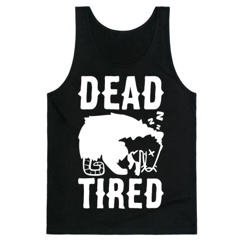 Dead Tired Possum Parody White Print Tank Top