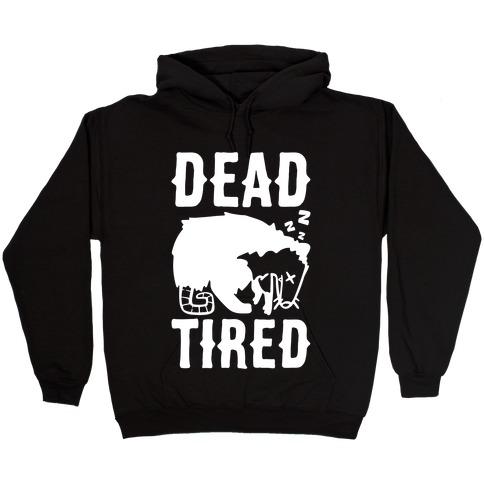 Dead Tired Possum Parody White Print Hooded Sweatshirt