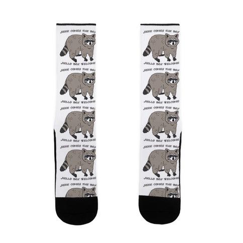 Here Comes The Boy, Hello Boy, Welcome - Raccoon Sock