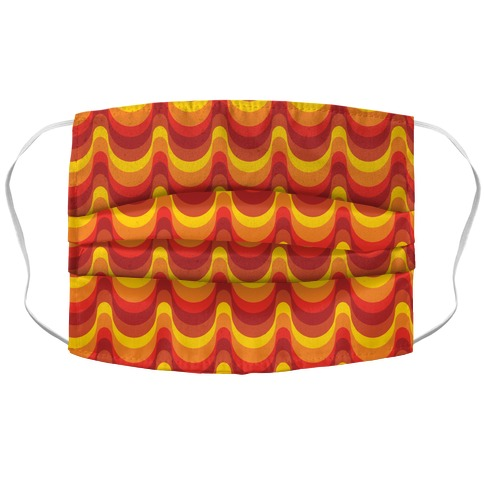 Groovy Waves: Autumn Colors Accordion Face Mask