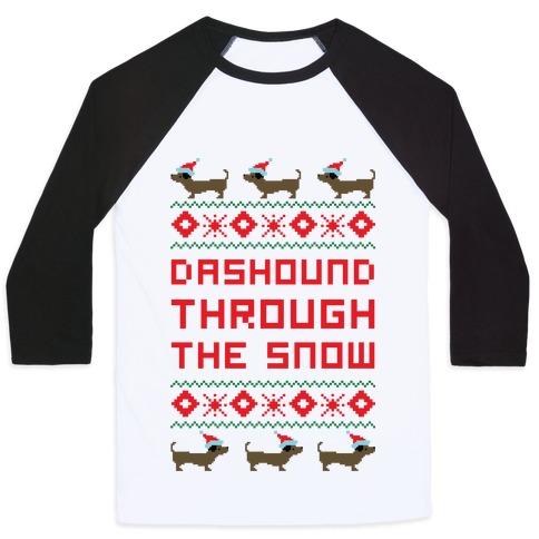 Dashound Through the Snow Baseball Tee