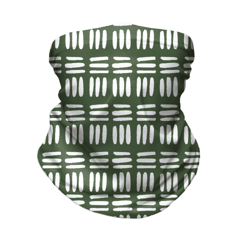 Dashed Lines Chive Boho Pattern Neck Gaiter