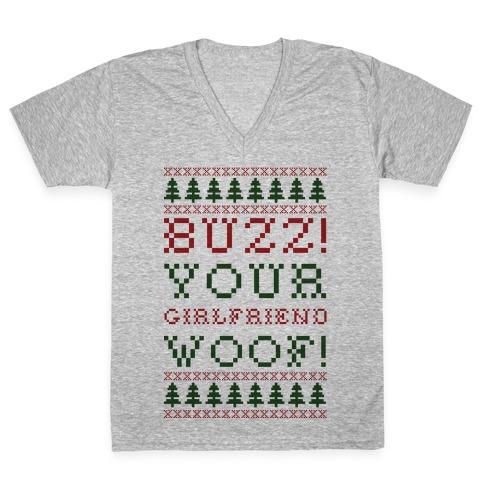 Buzz Your Girlfriend Woof V-Neck Tee Shirt