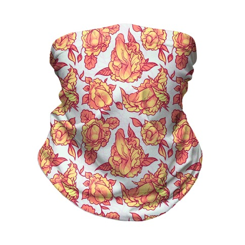 Floral Penis Pattern Orange Neck Gaiter