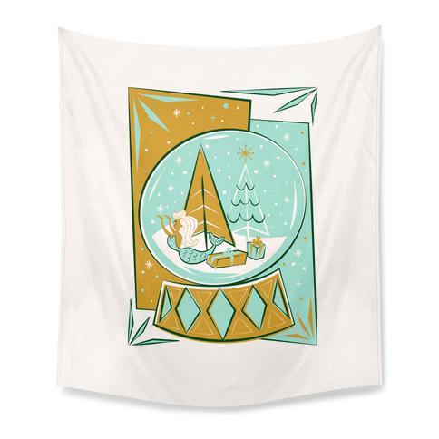 Mid-Century Modern Mermaid Holiday Snow Globe Tapestry