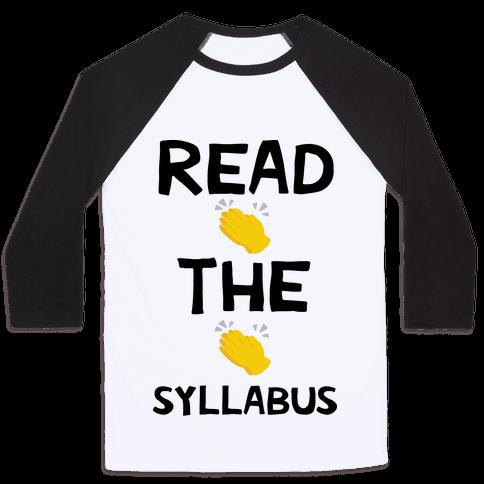 Read The Syllabus Clap Emoji Baseball Tee