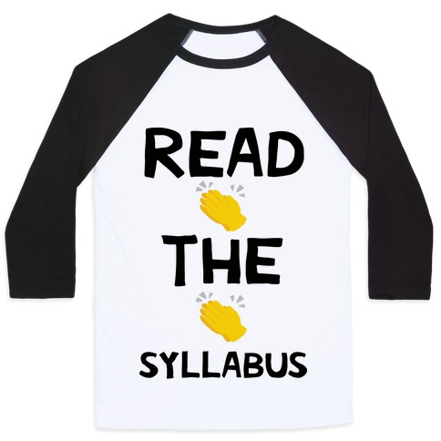 Read The Syllabus Clap Emoji Baseball Tee