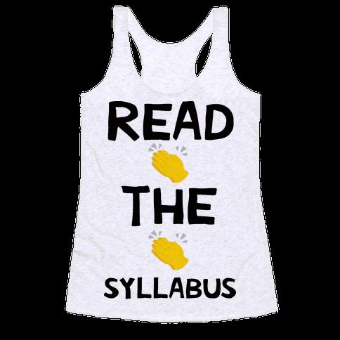 Read The Syllabus Clap Emoji Racerback Tank Top