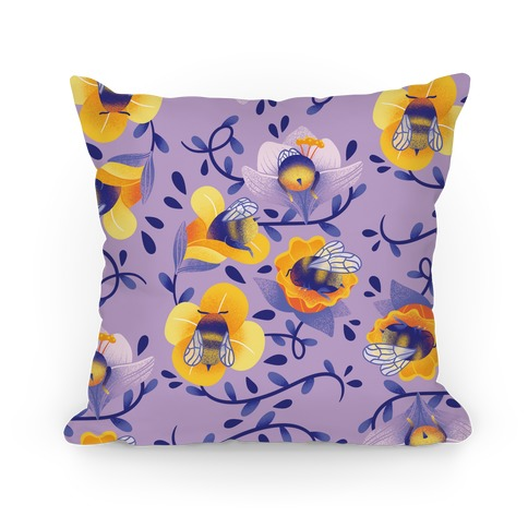 Sleepy Bumble Bee Butts Floral Pillow