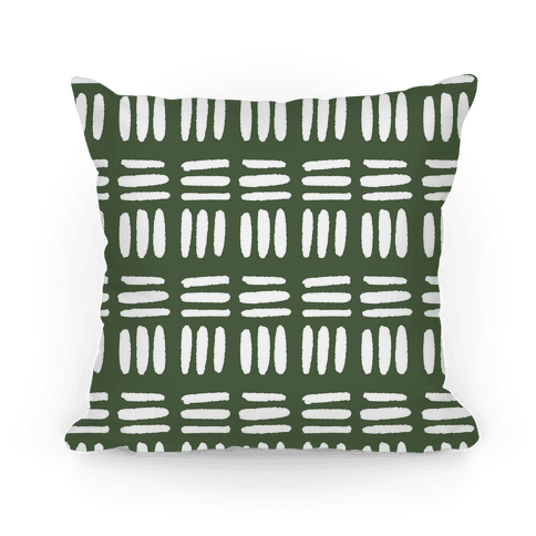 Dashed Lines Chive Boho Pattern Pillow
