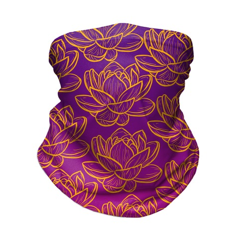 Purple and Gold Lotuses Pattern Neck Gaiter