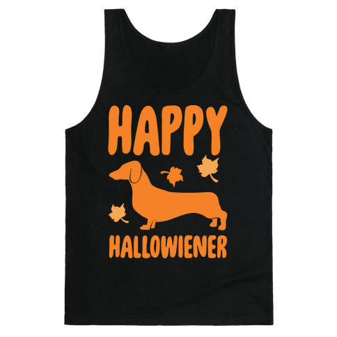 Happy Hallowiener Dachshund Parody White Print Tank Top