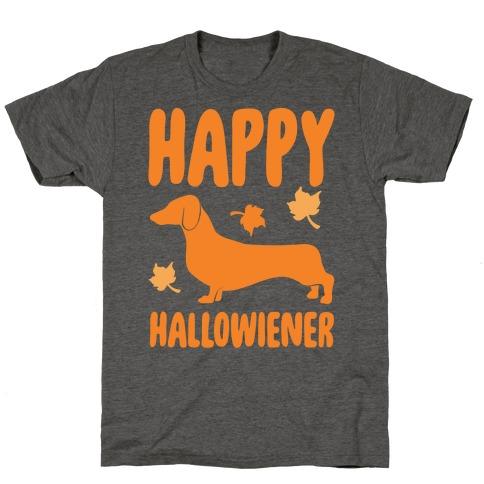 Happy Hallowiener Dachshund Parody White Print Mens/Unisex T-Shirt