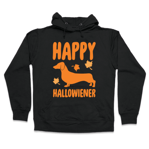 Happy Hallowiener Dachshund Parody White Print Hooded Sweatshirt