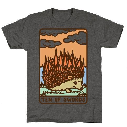 Ten of Swords HedgeHog Tarot Parody T-Shirt