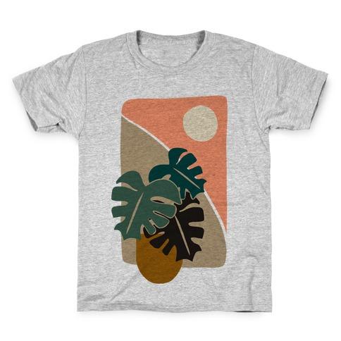 Minimalist Monstera Illustration Kids T-Shirt