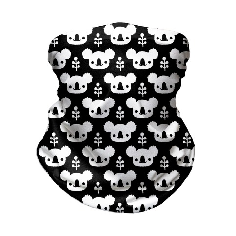 Koala and Eucalyptus Boho Pattern Black Neck Gaiter