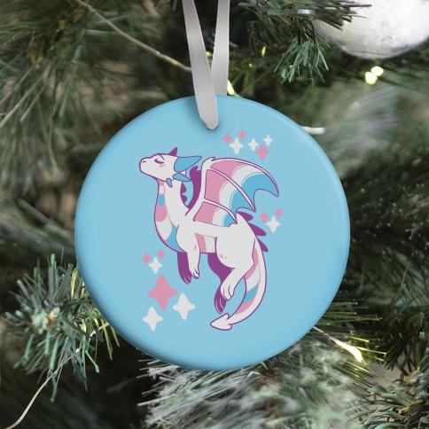 Trans Pride Dragon Ornament