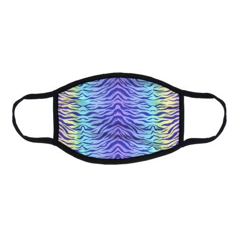 Tiger Stripe Pastel Rainbow Pattern Flat Face Mask