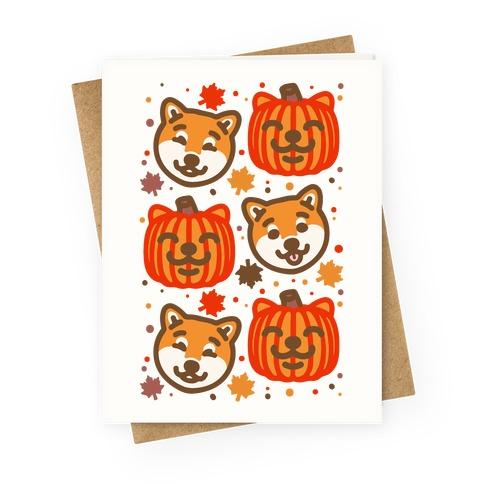 Shiba Inu Pumpkins Greeting Card