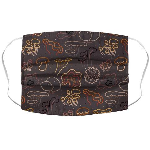 Fall Mushrooms (Dark Background)  Accordion Face Mask