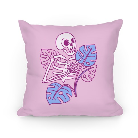 Monstera Skeleton Pillow