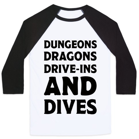 Dungeons Dragons Drive-ins And Dives Baseball Tee