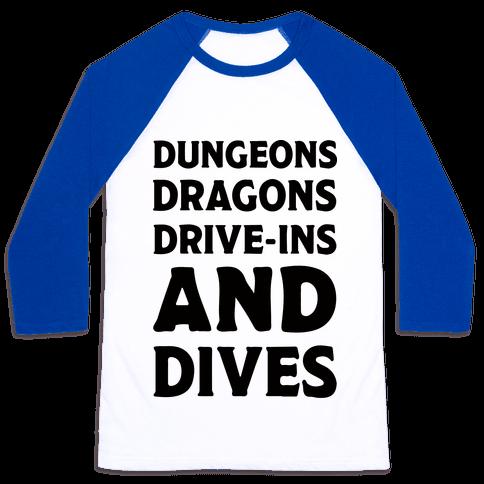Dungeons Dragons Drive-ins And Dives Baseball Tee