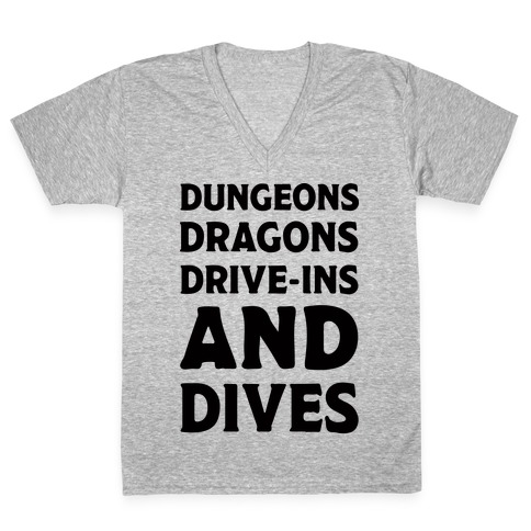 Dungeons Dragons Drive-ins And Dives V-Neck Tee Shirt