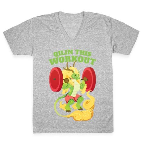 Qilin This Workout! V-Neck Tee Shirt