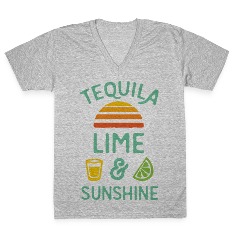 Tequila Lime And Sunshine V-Neck Tee Shirt