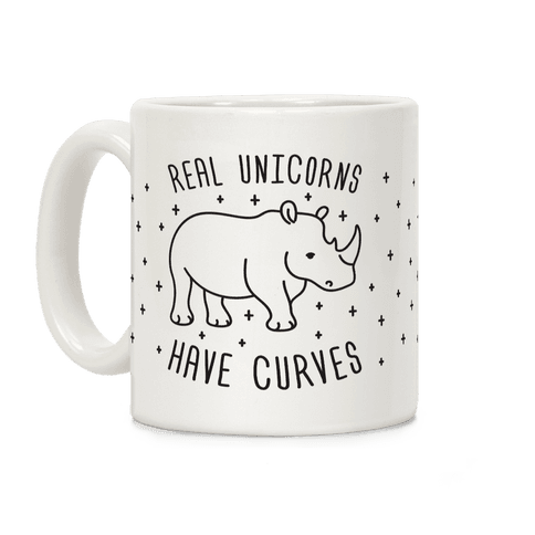 Real Unicorns Have Curves Black and White Coffee Mug