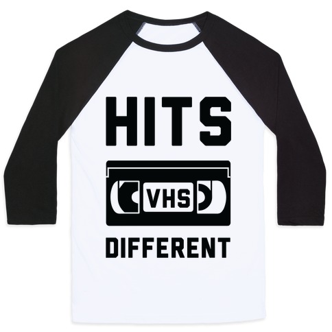Hits Different VHS Baseball Tee