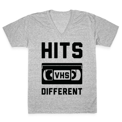 Hits Different VHS V-Neck Tee Shirt