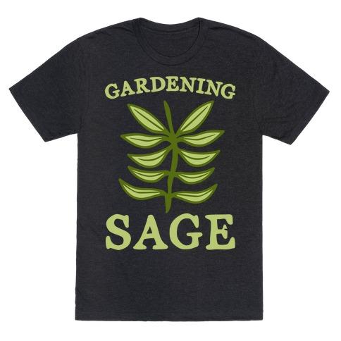Gardening Sage White Print T-Shirt