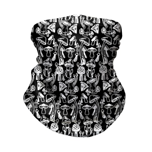 White On Black Mushroom Pattern Neck Gaiter