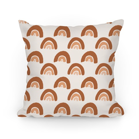 Desert Rainbow Terra Cotta Boho Pattern Pillow