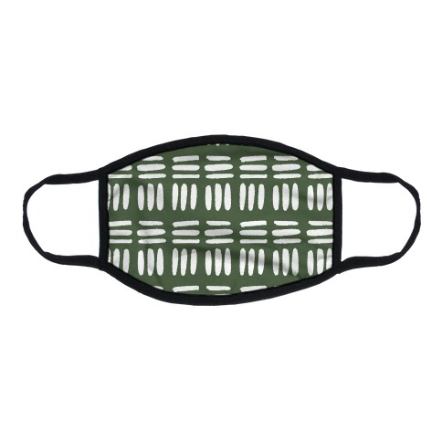 Dashed Lines Chive Boho Pattern Flat Face Mask