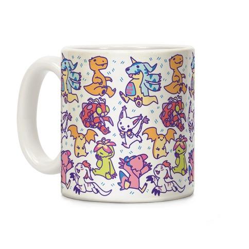 Digital Monsters Pattern Coffee Mug