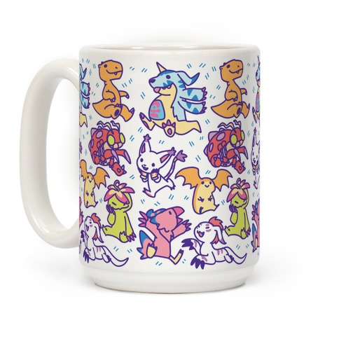 Digital Monsters Pattern Coffee Mug
