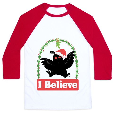 I Believe - Christmas Mothman Baseball Tee