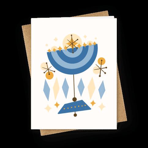 Mid-Century Modern Menorah (Hanukkah) Greeting Card