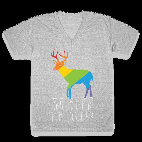 Oh Deer I'm Queer V-Neck Tee Shirt