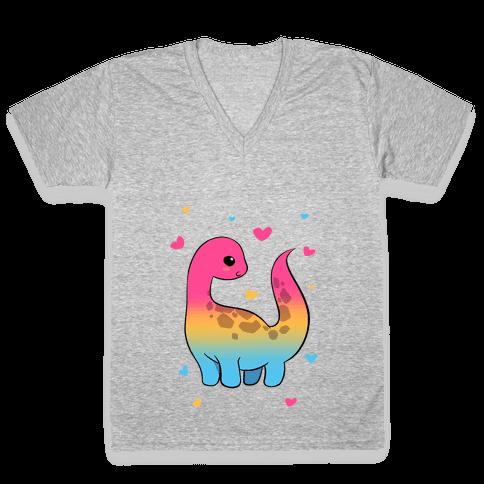 Pansexual-Dino V-Neck Tee Shirt