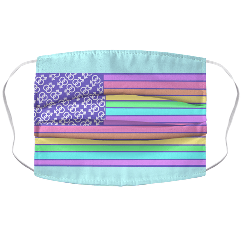PASTEL GAY PRIDE AMERICAN FLAG Face Mask Cover